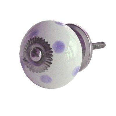 Knop i porcelæn - Hvid med lilla prikker. Gratis fragt