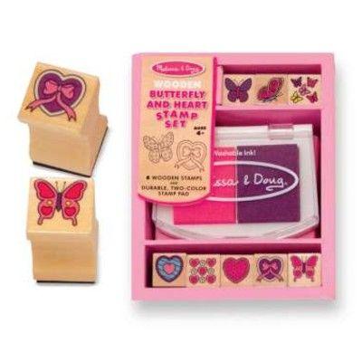Stempelsæt - lyserød med hjerter og sommerfugle