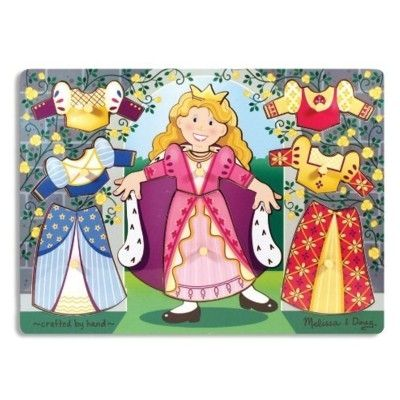 Knop-puslespil, giv prinsessen tøj på