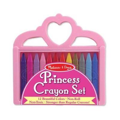 Farvekridt, 12 stk i prinsesseæske - lyserød