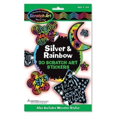 Scratch art - Silver & rainbow klistermærker