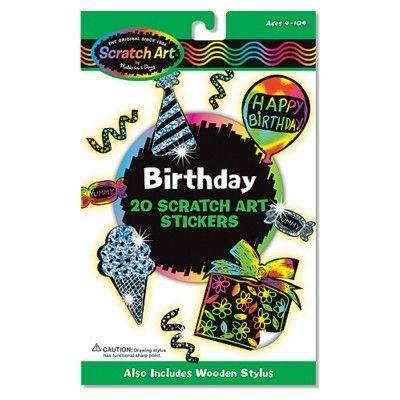 Scratch art - Happy Birthday klistermærker