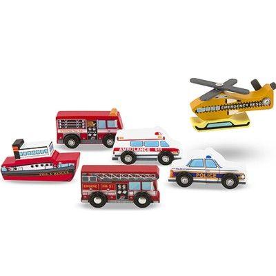 Biler i træ - 6 redningskøretøjer