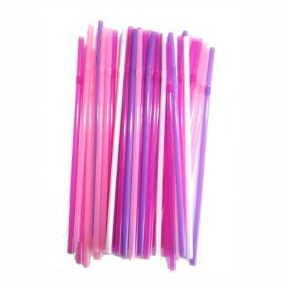 Sugerør - lyserøde/pink/lilla/hvide