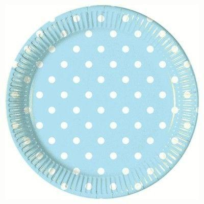 Tallerkener - lyseblå med hvide prikker - 10 stk