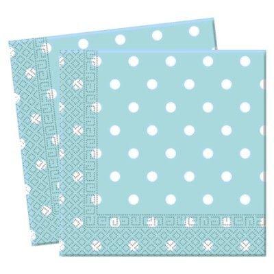 Fødselsdagsservietter - lyseblå med hvide prikker