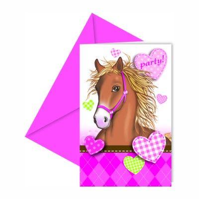Indbydelseskort - hest - 6 stk