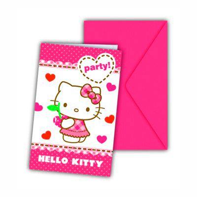 Indbydelseskort - Hello Kitty - 6 stk
