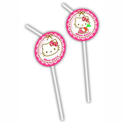 Sugerør med dekorationer - Hello Kitty - 6 stk