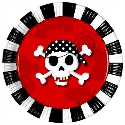 Tallerkener - pirat rød/sort - 8 stk