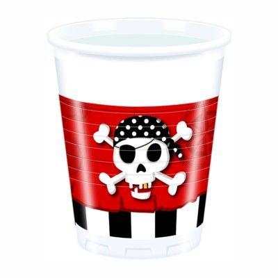 Krus - pirat rød/sort - 8 stk
