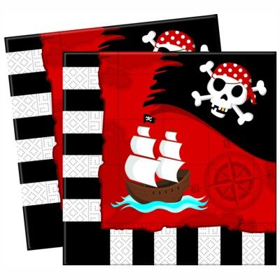 Fødselsdagsservietter - pirat rød/sort - 20 stk.