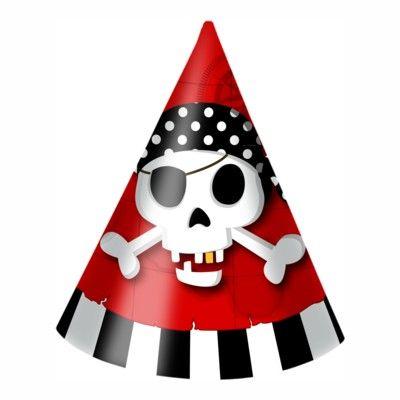 Fødselsdagshatte - pirat rød/sort - 6 stk