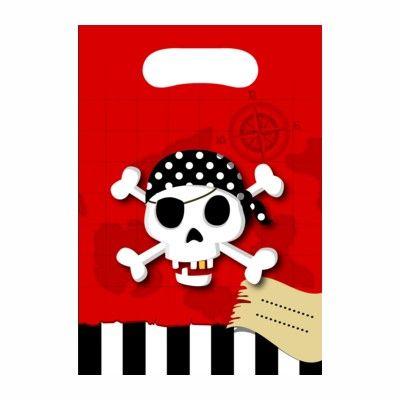 Slikposer - pirat rød/sort - 6 stk