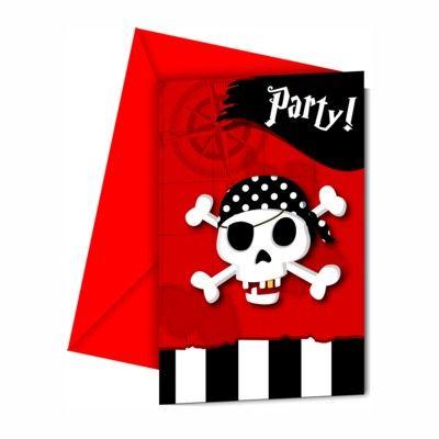 Indbydelseskort - pirat rød/sort - 6 stk