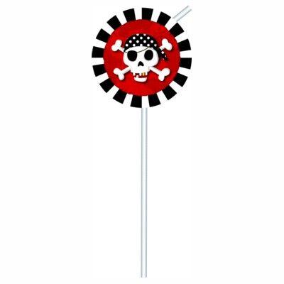 Sugerør med dekorationer - pirat rød/sort - 6 stk