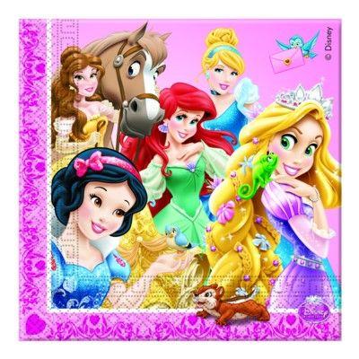 Fødselsdagsservietter - Disneyprinsesse - 20 stk.