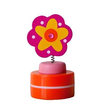Stempel i træ med lyserød blomst