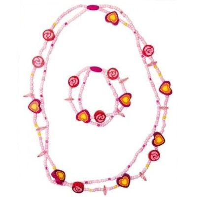 Halskæde og armbånd - sæt - lyserød/pink