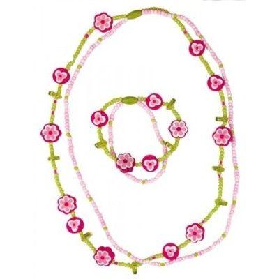 Halskæde og armbånd - sæt - rosa,grøn