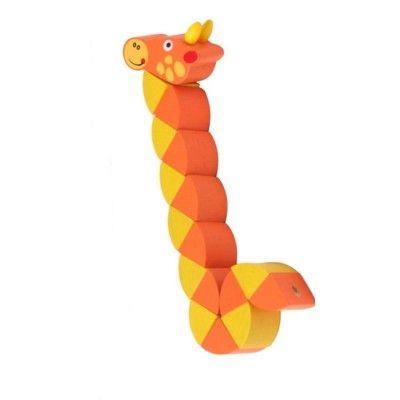 Dyr i træ, kan vrides - Giraf, orange