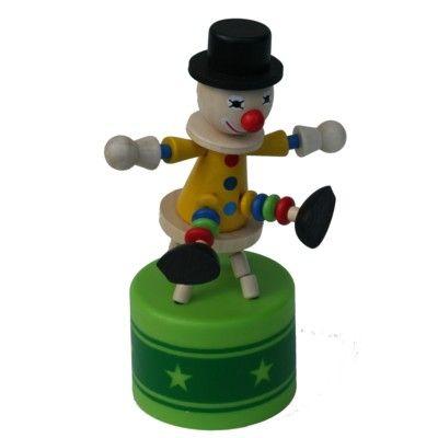 Push-up figur stor - Cirkus - Klovn på skammel med lyd