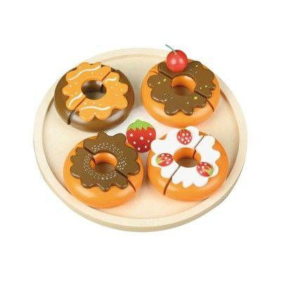 Legemad - doughnuts på trætallerken
