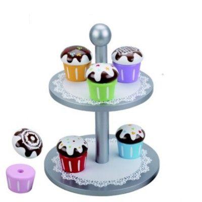 Kagefad i to etager med 6 muffins i træ - sølvfarvet