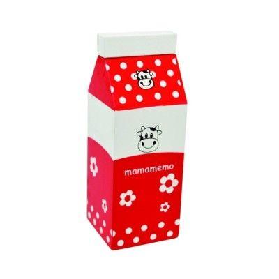 Legemad - Mælkekarton i træ - rød - MaMaMeMo