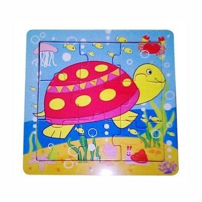 Puslespil i træ - skildpadde, 9 brikker