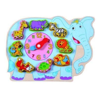 Klokke i træ, elefant med dyr