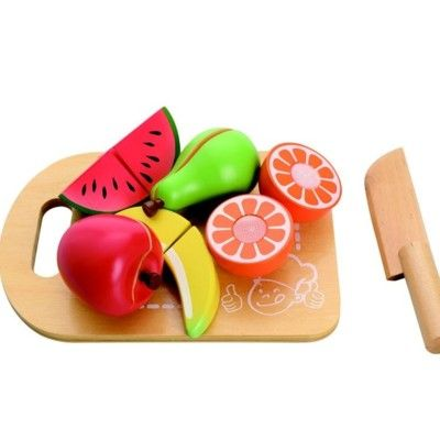 Legemad i træ - Skærebræt med mad - frugt - MaMaMeMo