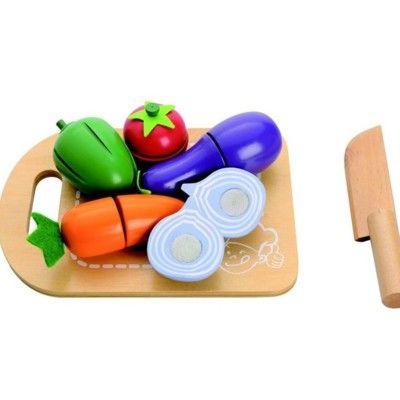 Legemad i træ - Skærebræt med mad - grøntsager - MaMaMeMo