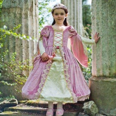 Kjole - middelalder dronning i lyserødt, 6 til 8 år