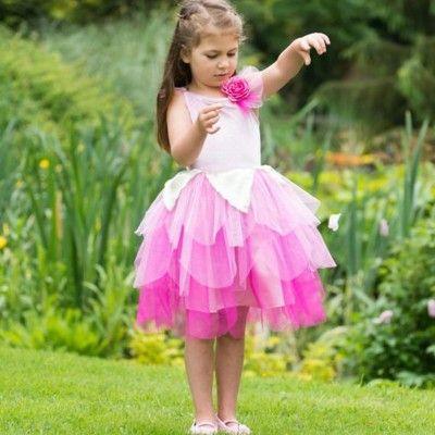 Fe kjole med lyserød blomst  - 6 til 8 år