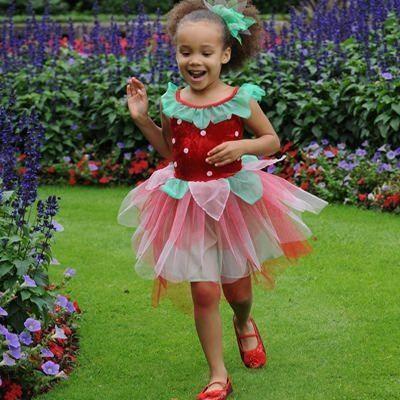 Jordbærskjole - udklædning, 3 til 5 år