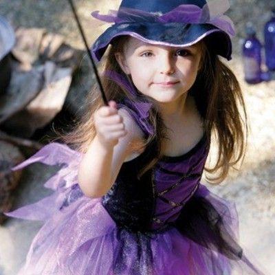 Heksekjole - lilla/sort, 6-8 år