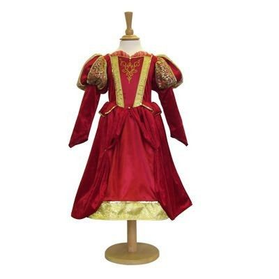 Kjole - middelalder dronning i rødt, 6 til 8 år
