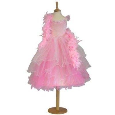 Udklædning - Lyserød kjole med fjerboa, 3 til 5 år