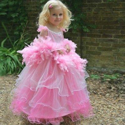 Udklædning - Lyserød kjole med fjerboa, 6 til 8 år
