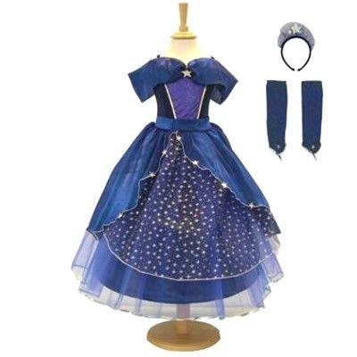 Prinsessekjole - blå med stjerner, 6-8 år