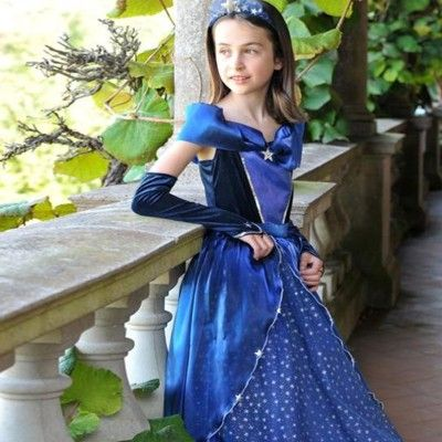 Prinsessekjole - blå med stjerner, 9-11 år