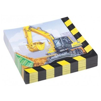 Fødselsdagsservietter - Construction - 20 stk.