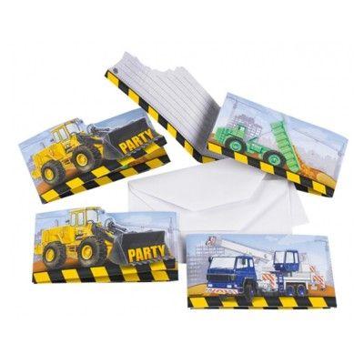 Indbydelseskort - Construction - 8 stk
