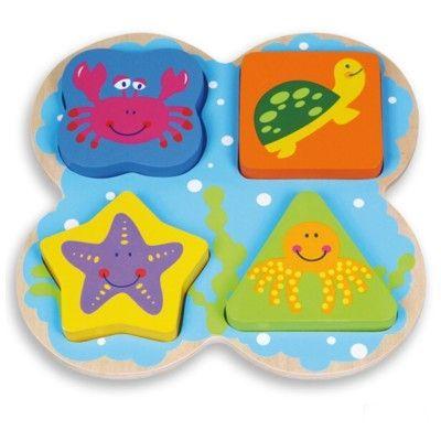 Puslespil med farver og former, havdyr