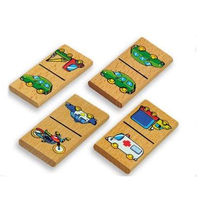 Domino i træ med biler og køretøjer