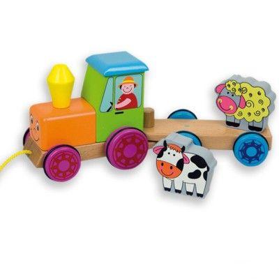 Traktor i træ med dyr - trælegetøj