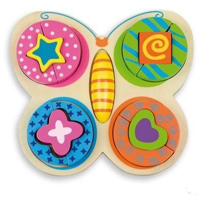 Puslespil med farver og former, sommerfugl