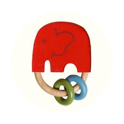 Gribelegetøj - elefanten India rød - økologisk fra Franck & Fischer