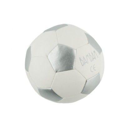 Bold til baby - fodbold i hvid og sølv